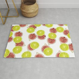 Figs Lime Fruite pattern - white Rug