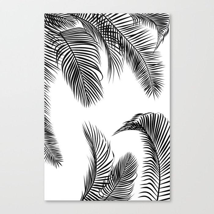 Black Palm Tree Leaves Pattern Canvas Print By Martaolgaklara Society6