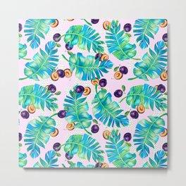 Pattern Plum & leaf Metal Print