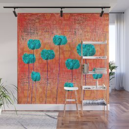 Vintage Poppy Flower Abstract Wall Mural