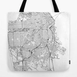 San Francisco White Map Tote Bag