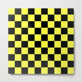 Black and Yellow Checkerboard Pattern Metal Print