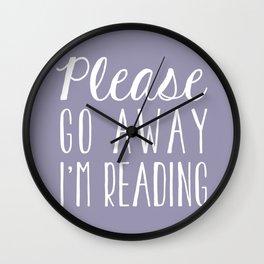 Please Go Away, I'm Reading (Polite Version) - Purple Wall Clock