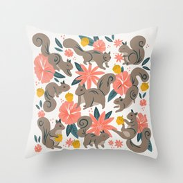 Squirrels & Blooms – Coral & Teal Throw Pillow