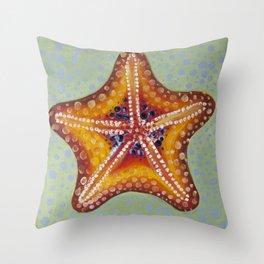 Sea Star Orange Throw Pillow
