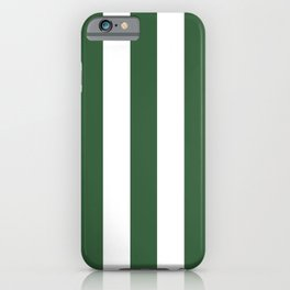 Hunter green - solid color - white vertical lines pattern iPhone Case