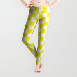 Yellow Checkerboard Pattern Leggings