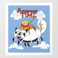 airbender Art Prints featuring Airbender Time by Kari Fry