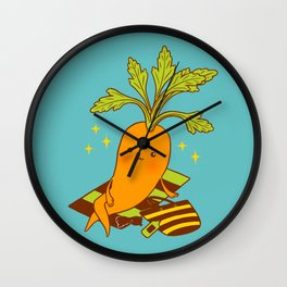 Cute Carrot on Vacation Chilling at the Beach Feeling Relax Wall Clock