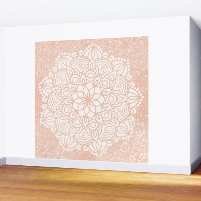 Seashell Mandala Coral Pink and White by Nature Magick Wall Mural
