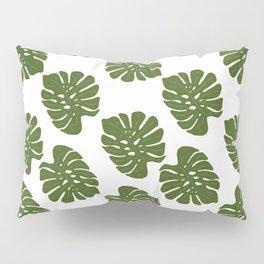Green Leaves - Seamless Pattern, White Background Pillow Sham