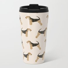 Airedale Terrier pattern dog breed cute custom dog pattern gifts for dog lovers Metal Travel Mug