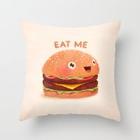 burger Throw Pillows featuring Burger by Lime