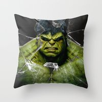 daenerys Throw Pillows featuring Angry HULK  by bimorecreative