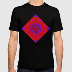 Red Lace on Purple Mens Fitted Tee MEDIUM Black
