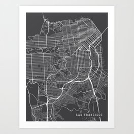 San Francisco Map, California USA - Charcoal Portrait Art Print