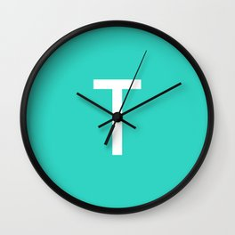 LETTER T (WHITE-TURQUOISE) Wall Clock