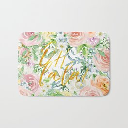 "Oh la la "" Fashionable Watercollor Floral Pattern Bath Mat"