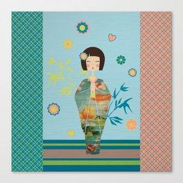 Kokeshi Geisha Japan Green Canvas Print