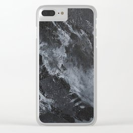 White Ink on Black Background #3 Clear iPhone Case