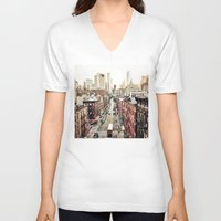 new york city V-neck T-shirts featuring New York City by Orbon Alija