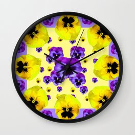 YELLOW & PURPLE PANSY FLOWERS FLOATING ON LILAC Wall Clock