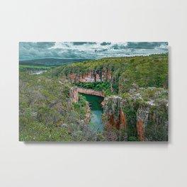Canyons de Furnas, Minas Gerais, Brazil. Big canyons with green water river and Cerrado vegetation. Metal Print