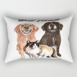 Cat and dog's are friends, illustration Rectangular Pillow