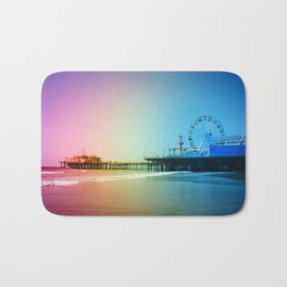 Santa Monica Pier Rainbow Colors Bath Mat