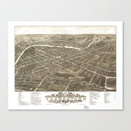 Vintage Pictorial Map of Youngstown Ohio (1883) Canvas Print