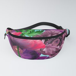 Garden of pink and purple poppies Fanny Pack