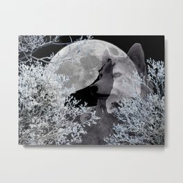 Winter Snow Wolf A830 Metal Print