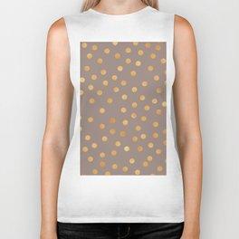 Rose gold polka dots - mocha golden Biker Tank