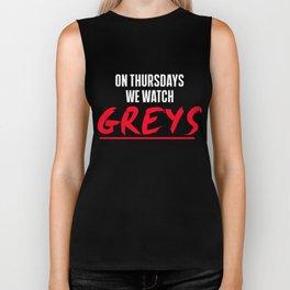 Greys T-Shirt On Thursday We Watch Greys Biker Tank