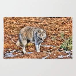 Arctic Wolf and Pine Tundra Rug