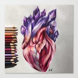 """Crystal Heart"" Drawing Canvas Print"