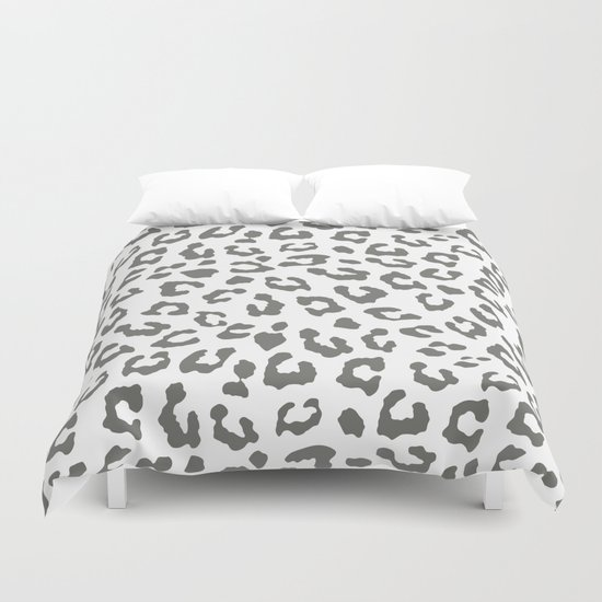 Safari Leopard Print - Grey & White Duvet Cover