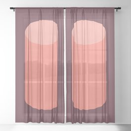 Cylinder Burgundy Pink Sheer Curtain