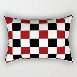 Black White Red Checker Rectangular Pillow