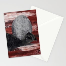 Adorable chick, hatching egg, original oil painting by Luna Smith, LuArt Gallery Stationery Cards