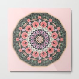 Wax Mandala Tulips Metal Print