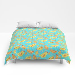 Yellow Chicks in Blue Comforters
