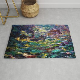 1910 Classical Masterpiece 'Ship on Stormy Seas' by Emil Nolde Rug