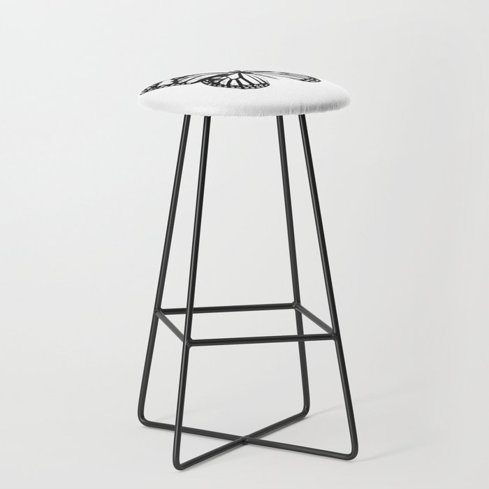 Monarch Butterfly | Vintage Butterfly | Black and White | Bar Stool