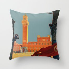 Tuscany - Siena Italy - Vintage Travel Throw Pillow
