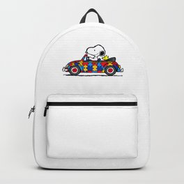 Snoopy drives a car Backpack