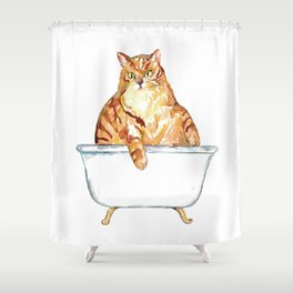 SPA Cat tabby Painting Wall Poster Watercolor Shower Curtain
