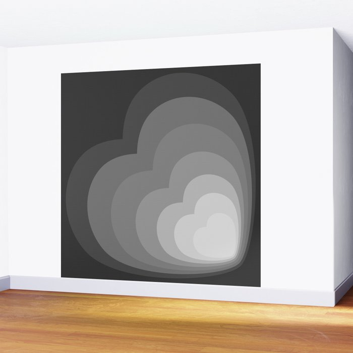 ELISE GRAYSCALE - Mid Century Modern Abstract Graphic Design Wall Mural