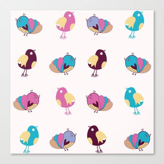 Cute Birds Pattern Canvas Print