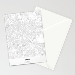 Paris, France Minimalist Map Stationery Cards
